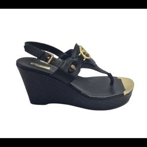 Guess Black Marcina Thong Wedge Sandals Size 9.5